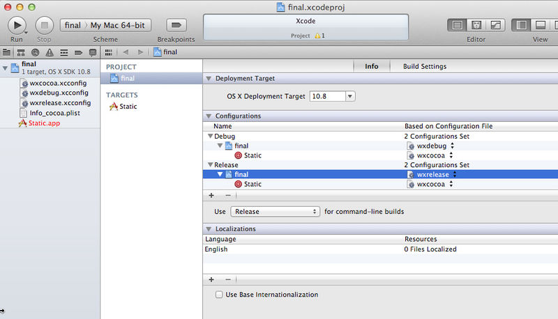 Creating Xcode projects for wxWidgets applications - WxWiki